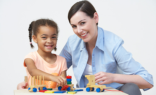 Educator working with a preschool child